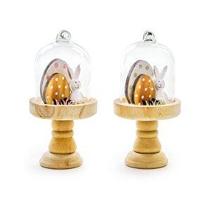 Mini Cúpula com Coelho e Ovinhos em Madeira e Vidro - 13cm x 7cm - Linha Napolitano - Cromus Páscoa - Rizzo Embalagens
