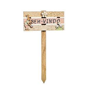 Placa Bem Vindo Decoração de Páscoa em Madeira Natural Coelhos e Flores - 40cm x 24cm - Cromus Páscoa - Rizzo Embalagens