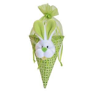 Bolsinha Cone Coelho de Páscoa Verde - 23cm x 12cm x 10cm - Linha Bolsinhas - Cromus Páscoa - Rizzo Embalagens