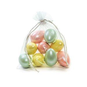 Ovo de Páscoa Decorativo Saquinho Voal Rosê, Verde, Amarelo Perolado - 6cm - 9 unidades - Cromus Páscoa - Rizzo Embalagens