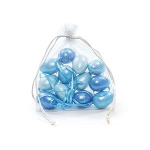 Ovo de Páscoa Decorativo Saquinho Voal 3 tons de Azul Perolado - 6cm - 9 unidades - Cromus Páscoa - Rizzo Embalagens