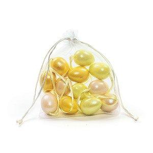 Ovo de Páscoa Decorativo Saquinho Voal 3 tons de Amarelo Perolado - 4cm - 9 unidades - Cromus Páscoa - Rizzo Embalagens
