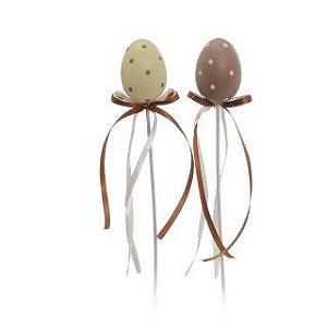 Ovo de Páscoa Decorativo no Palito Marrom e Marfim Poá - 29cm x 3cm - 9 unidades - Cromus Páscoa - Rizzo Embalagens