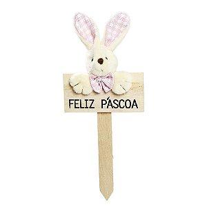 Plaquinha Feliz Páscoa Coelho Lacinho Xadrez Rosa - 22cm x 10cm - Cromus Páscoa - Rizzo Embalagens