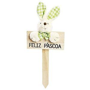 Plaquinha Feliz Páscoa Coelho Lacinho Xadrez Verde - 22cm x 10cm - Cromus Páscoa - Rizzo Embalagens