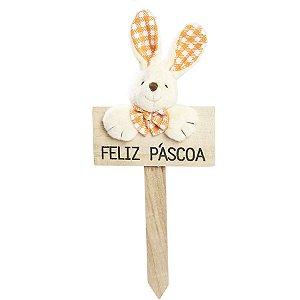 Plaquinha Feliz Páscoa Coelho Lacinho Xadrez Laranja - 22cm x 10cm - Cromus Páscoa - Rizzo Embalagens
