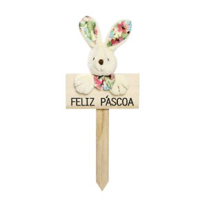 Plaquinha Feliz Páscoa Coelho Lacinho Floral - 22cm x 10cm - Cromus Páscoa - Rizzo Embalagens