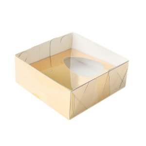 Caixa Ovo de Colher - Meio Ovo de 50g - 10cm x 10cm x 4cm - Ouro - 5unidades - Assk - Páscoa Rizzo Embalagens