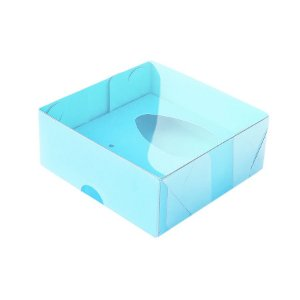 Caixa Ovo de Colher - Meio Ovo de 50g - 10cm x 10cm x 4cm - Azul - 5unidades - Assk - Páscoa Rizzo Embalagens