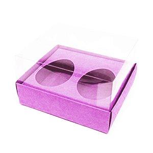 Caixa Ovo de Colher Duplo - Meio Ovo de 50g - 10cm x 10cm x 4cm - Rosa - 5unidades - Assk - Páscoa Rizzo Embalagens