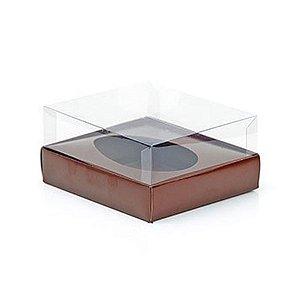Caixa Ovo de Colher - Meio Ovo de 100g a 150g - 11cm x 12,7cm x 7,5cm - Marrom - 5unidades - Assk - Páscoa Rizzo Embalagens