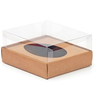 Caixa Ovo de Colher - Meio Ovo de 500g - 20,5cm x 17cm x 6,5cm - Kraft - 5unidades - Assk - Páscoa Rizzo Embalagens