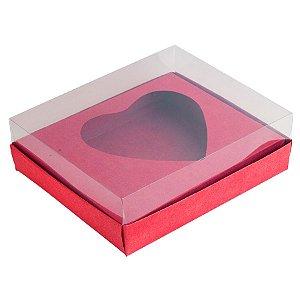 Caixa Coração de Colher - Meio Coração de 500g - 20,5cm x 17cm x 6,5cm - Vermelho - 5unidades - Assk - Páscoa Rizzo Embalagens