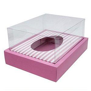 Caixa Ovo de Colher com Moldura - Meio Ovo de 350g - 23cm x 19cm x 10cm - Rosa Listras - 5unidades - Assk - Páscoa Rizzo Embalagens