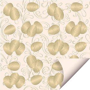 Folha para Ovos de Páscoa Double Face Ovos de Ouro Marfim 69x89cm - 05 unidades - Cromus Páscoa - Rizzo Embalagens