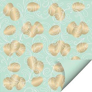Folha para Ovos de Páscoa Double Face Ovos de Ouro Verde 69x89cm - 05 unidades - Cromus Páscoa - Rizzo Embalagens