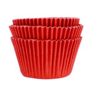 Forminha Forneável Mini Cupcake Nº 2 (2,5cm x 4cm) Vermelha - 45 unidades - Mago - Rizzo Embalagens