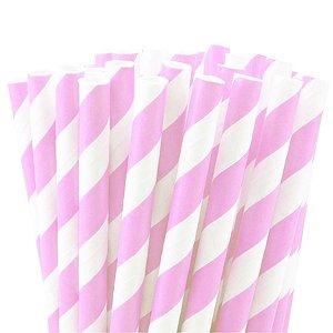 Canudo de Papel Listras Rosa Claro - 20 unidades - ArtLille - Rizzo Festas