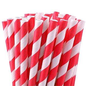 Canudo de Papel Listras Vermelho - 20 unidades - ArtLille - Rizzo Festas