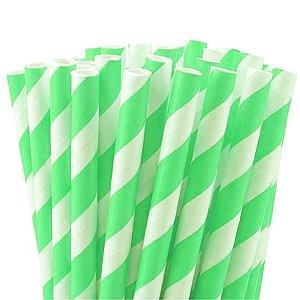 Canudo de Papel Listras Verde Limão - 20 unidades - ArtLille - Rizzo Festas