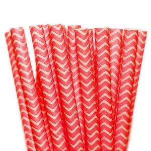 Canudo de Papel Missoni Vermelho - 20 unidades - ArtLille - Rizzo Festas