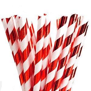 Canudo de Papel Listras Metalizado Vermelho - 20 unidades - ArtLille - Rizzo Festas