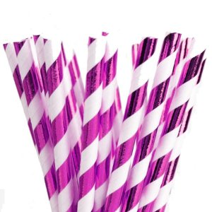 Canudo de Papel Listras Metalizado Pink - 20 unidades - ArtLille - Rizzo Festas