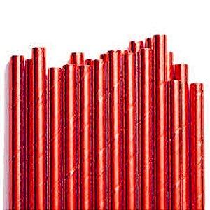Canudo de Papel Metalizado Vermelho - 20 unidades - ArtLille - Rizzo Festas