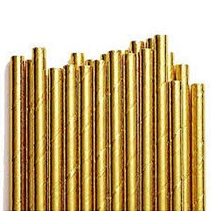 Canudo de Papel Metalizado Dourado - 20 unidades - ArtLille - Rizzo Festas