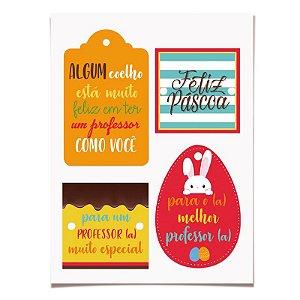 Cartela de Tags Destacáveis Páscoa Professor - 03 unidades - Cromus Páscoa - Rizzo Embalagens