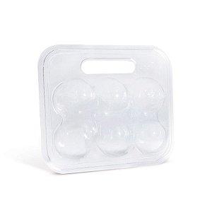Maleta para 6 Ovos Transparente 16,5x15x6,5cm - 10 unidades - Cromus Páscoa - Rizzo Embalagens