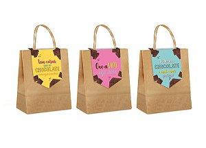 Sacola de Papel com Fechamento Doce Chocolate Sortido P 21,5x15x8cm - 10 unidades - Cromus Páscoa - Rizzo Embalagens