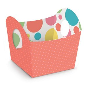 Cestinha de Páscoa Candy Colors Coral 8,5x9,5x8,5cm - 10 unidades - Cromus Páscoa - Rizzo Embalagens