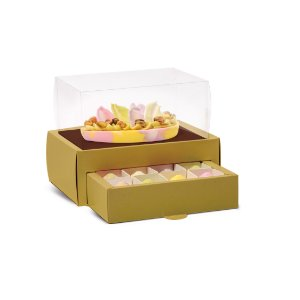 Caixa Meio Ovo de Colher 250g com Gaveta para 12 Bombons Ouro - Cromus Páscoa - Rizzo Embalagens