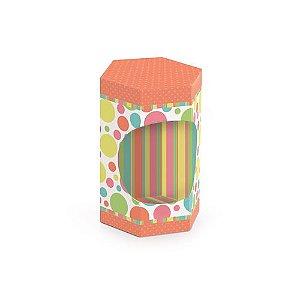 Caixa Sextavada para Ovos de 100g a 150g 8x10x7cm Coral - 10 unidades - Cromus Páscoa - Rizzo Embalagens