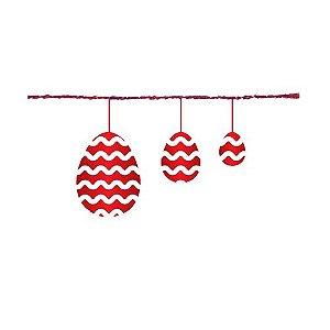 Fio Metalizado Fantasia Ovos Vermelho 2,70m - 01 unidade - Cromus Páscoa - Rizzo Embalagens