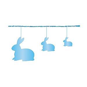 Fio Metalizado Fantasia Coelhos Azul 2,70m - 01 unidade - Cromus Páscoa - Rizzo Embalagens