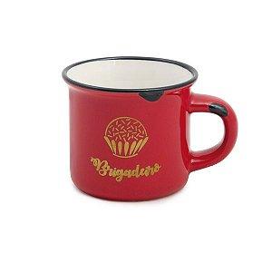 Mini Caneca Cerâmica Brigadeiro Vermelha 70ml - Cromus Páscoa - Rizzo Embalagens