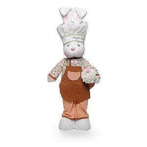 Coelha Chef em Pé Coral Marrom 53cm x 15cm - Cromus Páscoa - Rizzo Embalagens