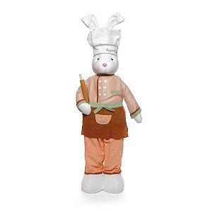 Coelho Chef em Pé Coral Marrom 80cm x 20cm - Cromus Páscoa - Rizzo Embalagens
