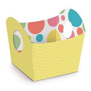 Cestinha de Páscoa Candy Colors Amarelo 8,5x9,5x8,5cm - 10 unidades - Cromus Páscoa - Rizzo Embalagens