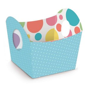 Cestinha de Páscoa Candy Colors Azul 8,5x9,5x8,5cm - 10 unidades - Cromus Páscoa - Rizzo Embalagens