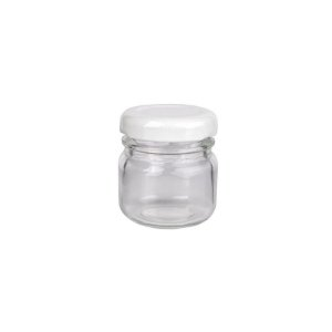 Potinho de Vidro Redondo Tampa de Metal Branca 40ml - Rizzo Embalagens