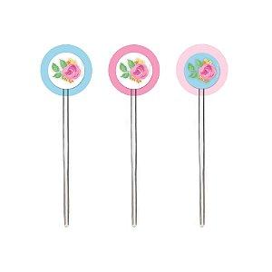 Pick para Cupcake Festa Chá das Meninas - 12 unidades - Cromus - Rizzo Festas