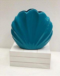 Vaso Concha 19cm Azul Festa Sereia - 1 Unidade - Rizzo Festas