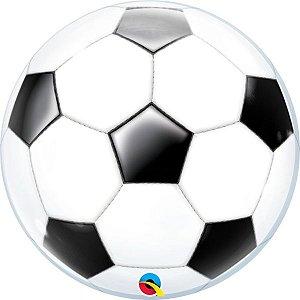 Balão Bubble Transparente Bola de Futebol - 22'' 56cm - Qualatex - Rizzo festas