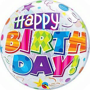 Balão Bubble Transparente Estampa de Festa de Aniversário - 22'' 56cm - Qualatex - Rizzo festas