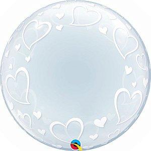Balão Bubble Transparente Corações Elegantes - 24'' 61cm - Qualatex - Rizzo festas