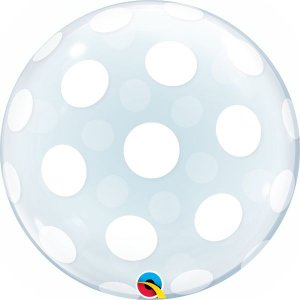 Balão Bubble Transparente Decorado com Pontos Polka - 24'' 61cm - Qualatex - Rizzo festas