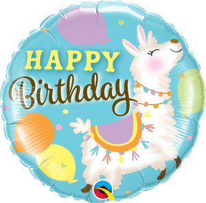 Balão Metalizado Aniversário Lhama - 18'' - Qualatex - Rizzo festas